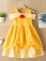 Toddler Girls Solid Sleeveless Yellow Princess Dress