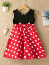 Toddler Girls Polka Dots Print Bowknot Sleeveless Casual Dress