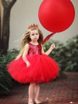 Toddler Girls Solid Sequin Backless Tutu Dress