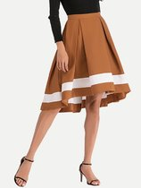 Striped Asymmetric Pleated A Line Skirt
