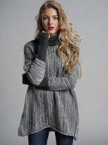 High Neck Loose Knit Sweater