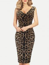 Womens Business Dress Work Office Pencil V Neck Leopard Print Sleeveless Knee Length Midi Dress