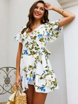 Womens Sexy Floral Print Bohemian Dress V Neck Short Sleeve Short Beach Dress