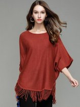 Solid Loose Tassels Knit Sweater