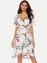 Womens Sexy Floral Print Dress Bohemian V Neck Lacing Knee Length Dress With Sleeves