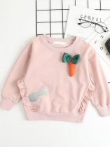 Toddler Girls Rabbit and Carrot Print Long Sleeve Cotton Cartoon Sweatshirt