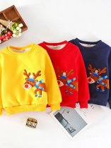Toddler Girls Elk Print Thick Long Sleeve Cotton Warm Sweatshirt