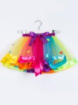Toddler Girls Tutu Skirt Layered Polka Dots Print Colorful Tulle Pettiskirt