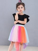 Toddler Girls Tutu Skirt Rainbow Print Irregular Hem Birthday Party Tulle Pettiskirt
