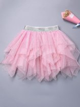 Toddler Girls Tutu Skirt Sequins Irregular Hem Mesh Party Tulle Pettiskirt