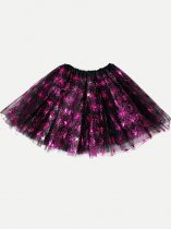 Toddler Girls Tutu Black Skirt 3 Layered Halloween Spiders Print Sequins Tulle Party Pettiskirt