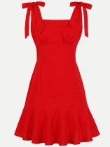 60s Solid Backless Ruffle Slip Swing Dress