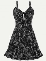 50s Black Polka Dots Slip Swing Dress