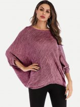 Solid Batwing Loose T Shirt
