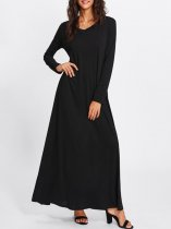 Black Casual Long Maxi Swing Dress