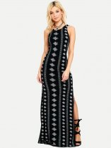 Black Geometric Sleeveless Backless Maxi Dress