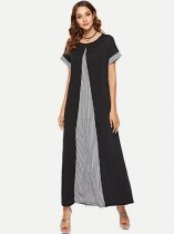 Black Casual Plaid Long Maxi Dress