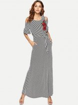 Black Striped Off Shoulder Embroidery Maxi Dress