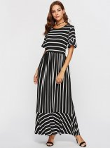 Black Striped Long Maxi Dress