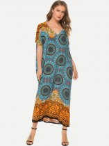 Summer Print Cotton Long Maxi Beach Dress