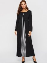 Black Striped Patchwork Maxi Dress