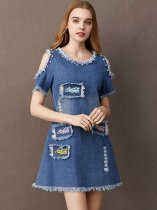 Denim Off Shoulder Embroidery A Line Dress