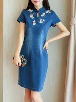 Denim Embroidery Flowers Fitted Bodycon Dress