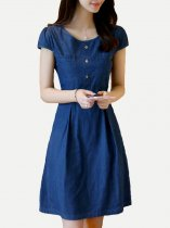 Denim Solid Short Jeans Dress with Buttons