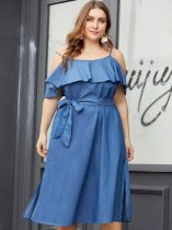 Plus Size Solid Ruffle Lacing Slip Denim Dress