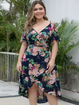 Plus Size Navy Floral High Low Dress