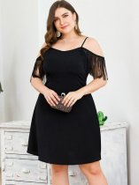 Plus Size Black Tassels Slip Party Dress