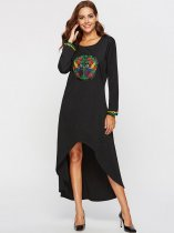 Black Embroidered High Low Maxi Dress
