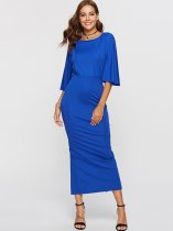 Blue Solid Maxi Bodycon Dress