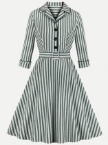 60s Striped Long Sleeve Swing Dress