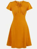 60s Orange Solid Swing Dress