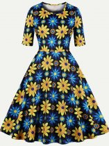 60s Floral Print Swing Dress