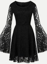 60s Black Lace Party Swing Dress