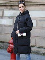 Solid Hooded Long Puffer Coat