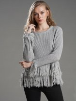 Grey Tassel Knitted Sweater