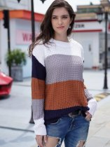 Striped Color Block Knit Sweater