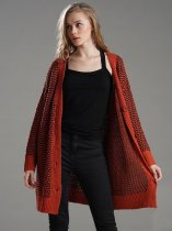 Red Polka Dots Long Knit Cardigan