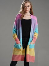 Oversized Striped Long Rainbow Cardigan