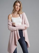 Pink Asymmetrical Cardigan Sweater