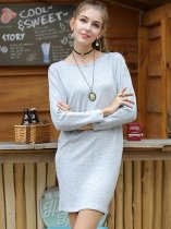 Solid Knit Jumper Sweater Dress