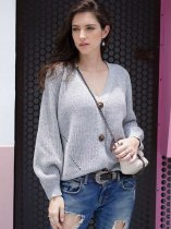Solid V Neck Knit Cardigan