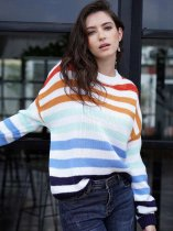 Striped Rainbow Knit Sweater