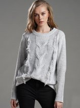 Grey Tassel Knit Sweater