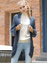 Blue Oversized Cardigan Sweater