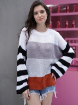 Color Block Striped Knit Jumper