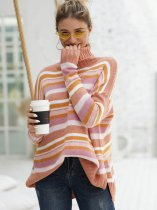 High Neck Striped Rainbow Sweater